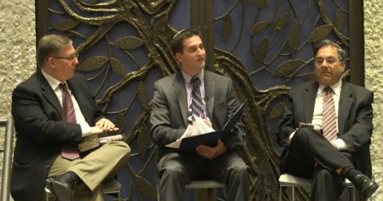 Rabbi Shlomo Riskin (right), moderator David Nekrutman, and me speaking at Lincoln Square Synagogue on Tuesday evening.