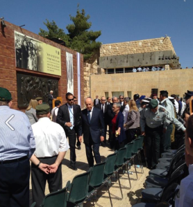 Israeli President Shimon Peres arrives at the Yom HaShoah ceremonies on Monday at Yad Vashem.