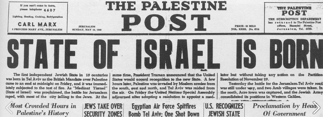 Image result for 1948 israel's birth