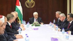 Palestinian Authority President Mahmoud Abbas meets with his new unity government in the West Bank city of Ramallah, June 2, 2014 (photo credit: Issam Rimawi/Flash90/Times of Israel)
