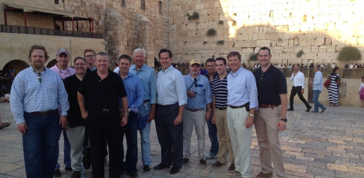With the Santorum delegation at the Western Wall on Monday.