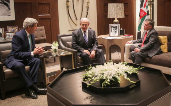 """His Majesty King Abdullah holds talks with Israeli Prime Minister Benjamin Netanyahu and US Secretary of State John Kerry in Amman on Thursday."" (Photo courtesy of Royal Court/AFP/Jordan Times)"