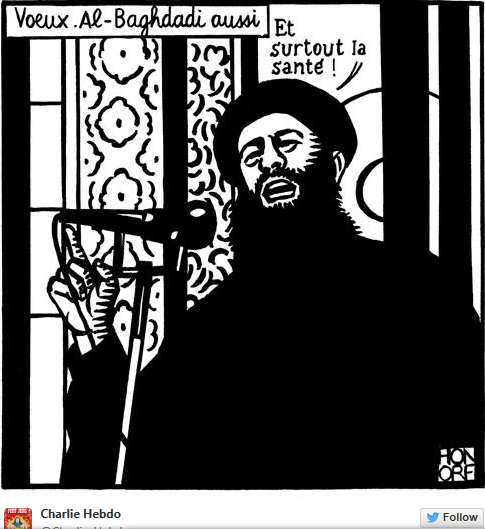 """Screenshot of a Tweet sent out by """"Charlie Hebdo"""" magazine with a cartoon mocking the leader of ISIS. (source: Haaretz)"""