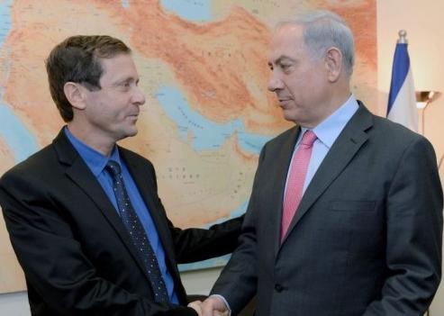 "Zionist Union leader Isaac (""Bouji"") Herzog (left), with Prime Minister Benjamin (""Bibi"") Netanyahu in November 2013. (photo credit: Kobi Gideon/Flash90/Times of Israel)"