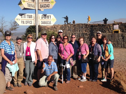 Some of The Joshua Fund tour group on the Golan Heights, visiting the Syrian-Israeli border.